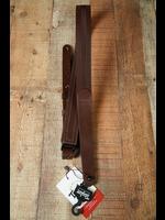 "Taylor Taylor Slim Leather Strap, Chocolate Brown w/ Engraving,1.50"",Emobossed Logo"