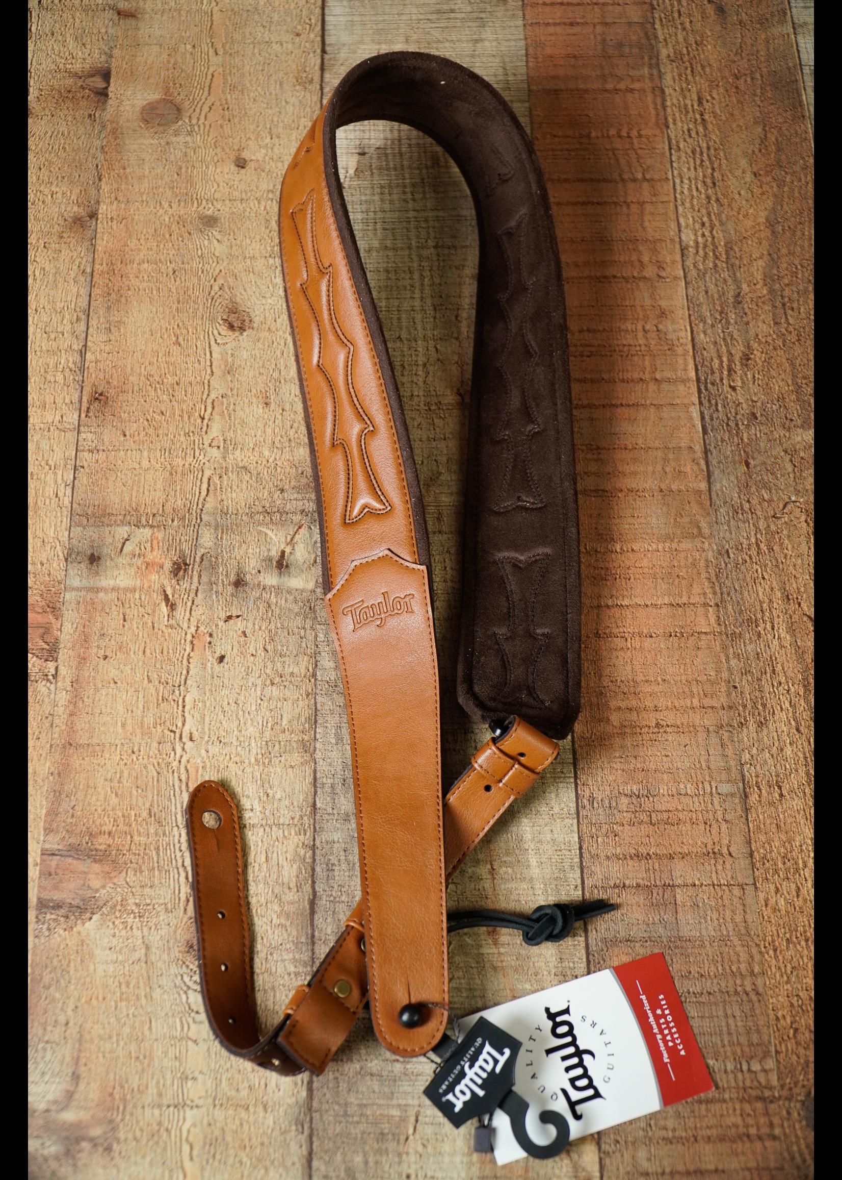 "Taylor Taylor Vegan Leather Strap,Tan w/Stitching, 2.75"",Embossed Logo"