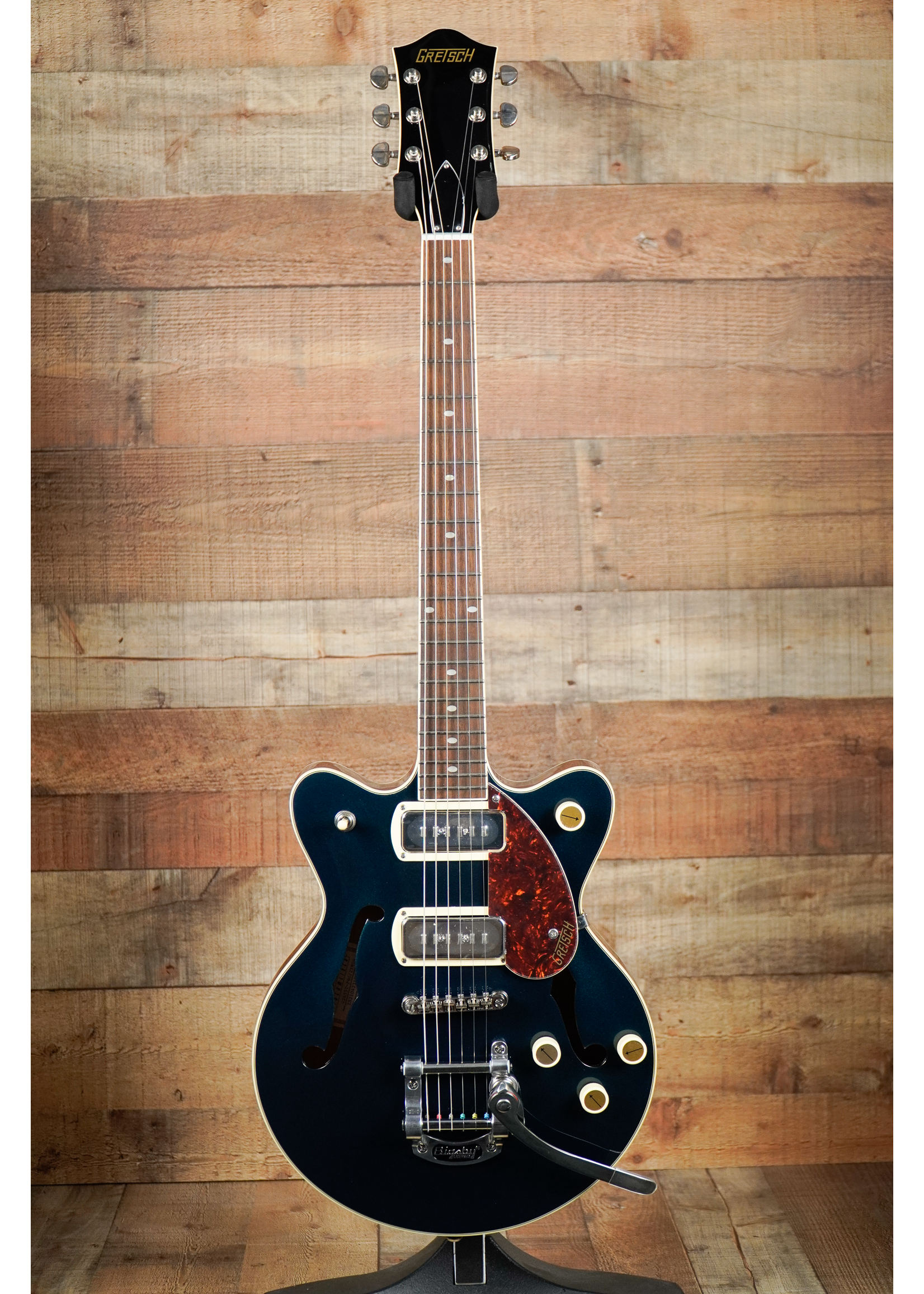 Gretsch Gretsch G2655T-P90 Streamliner™ Center Block Jr. Double-Cut P90 with Bigsby®, Laurel Fingerboard, Two-Tone Midnight Sapphire and Vintage Mahogany Stain