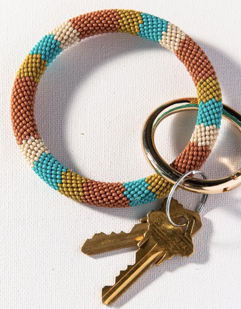 Beaded Key Ring Rust