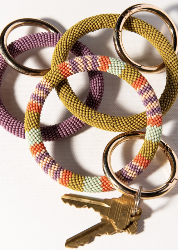 Ink & Alloy Beaded Key Ring Coral Lilac Stripe