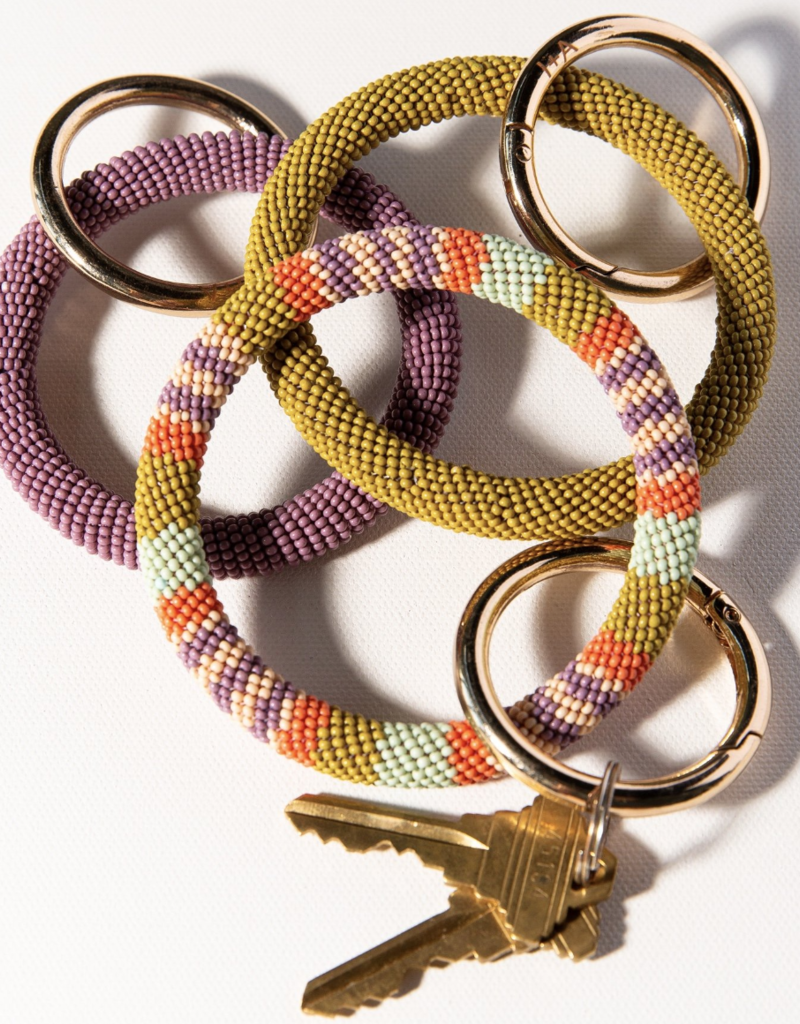Beaded Key Ring Coral Lilac Stripe