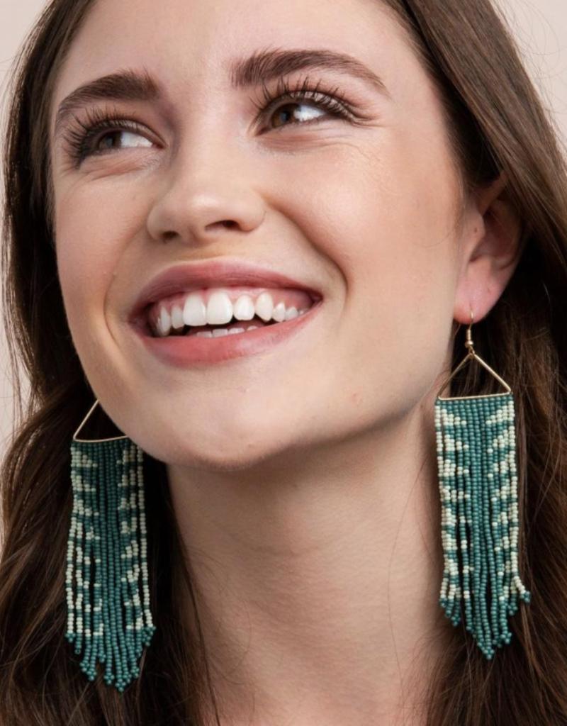 Ink & Alloy Mint Arrow Fringe Earrings