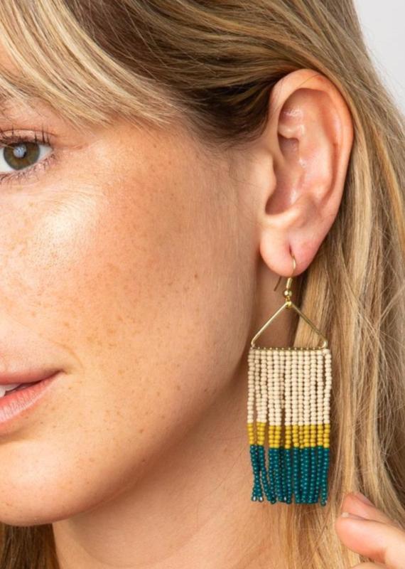 Peacock Color Block Earrings