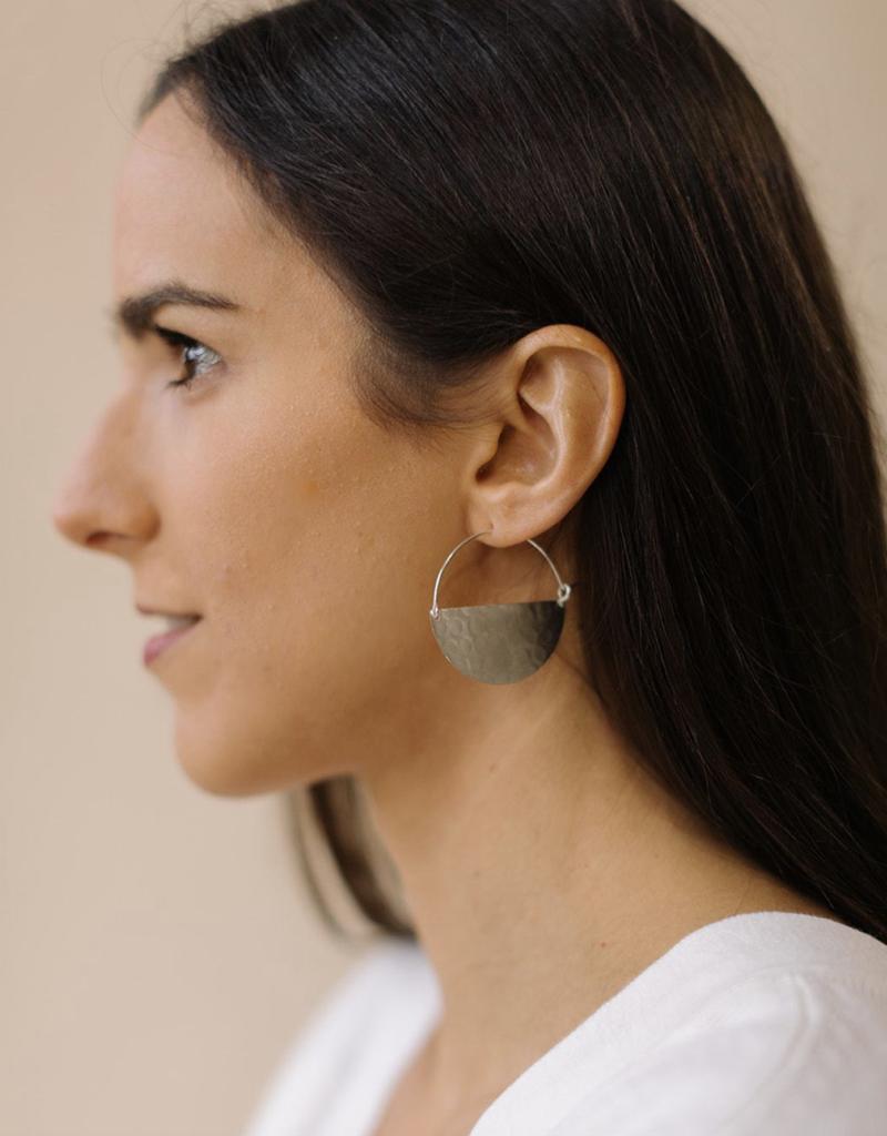 Large Half Moon Silver Earrings