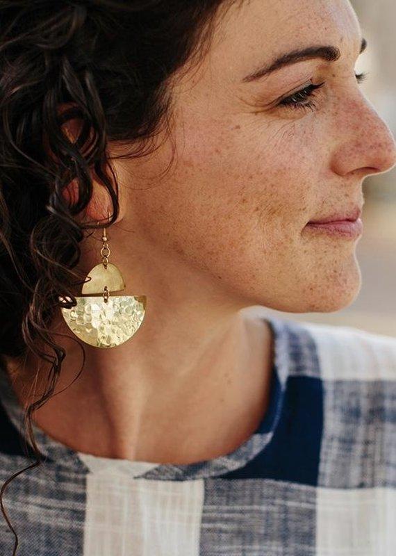 Rising Mart Crescent Brass Earrings