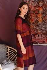 Nisha Plum Stripe Dress