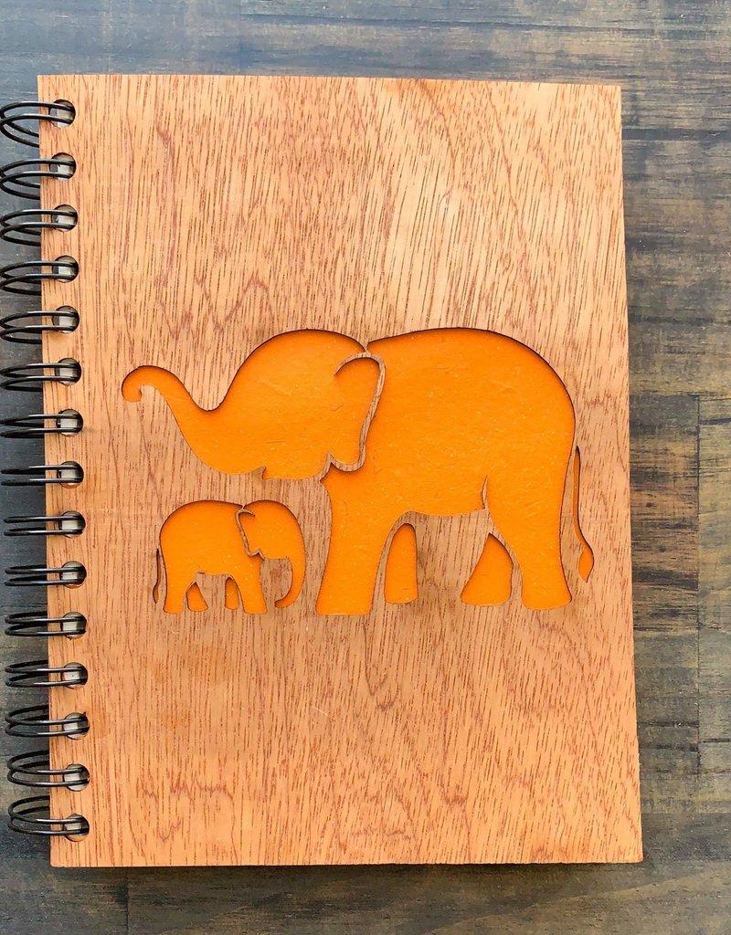 Mr. Ellie Pooh Elephant Mother Baby Love Wood Notebook