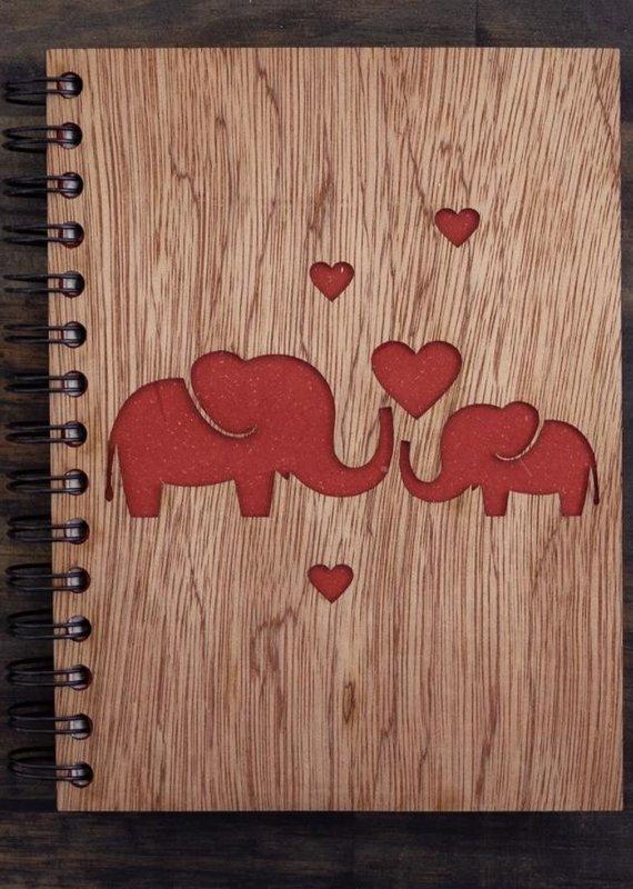 Mr. Ellie Pooh Elephant Love Wood Notebook
