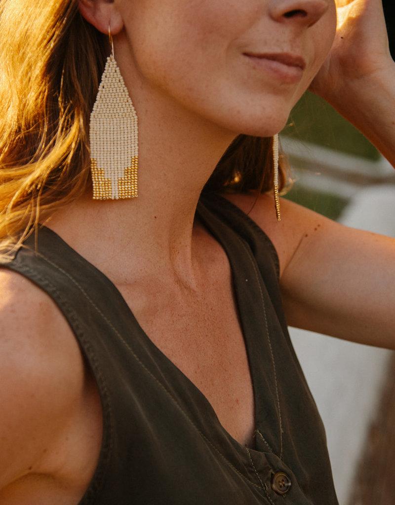 Steps Beaded Ivory Earrings