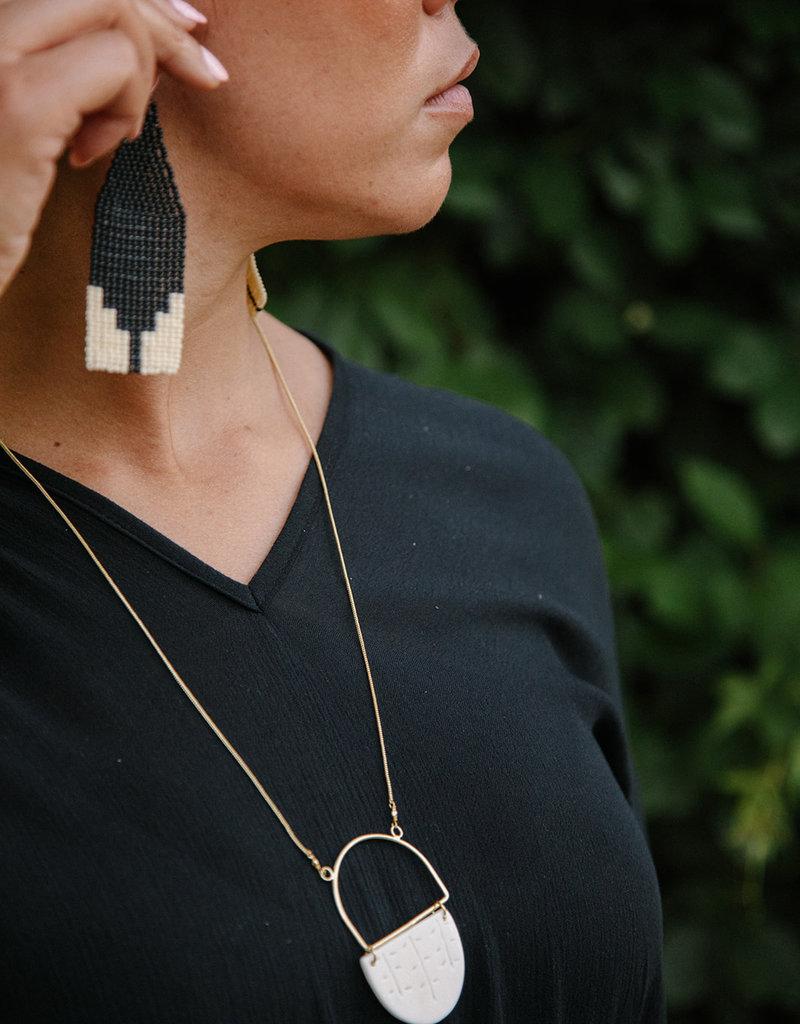 Steps Beaded Black Earrings