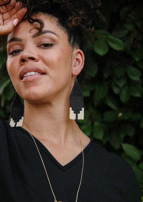 LAUDE the Label Steps Beaded Black Earrings