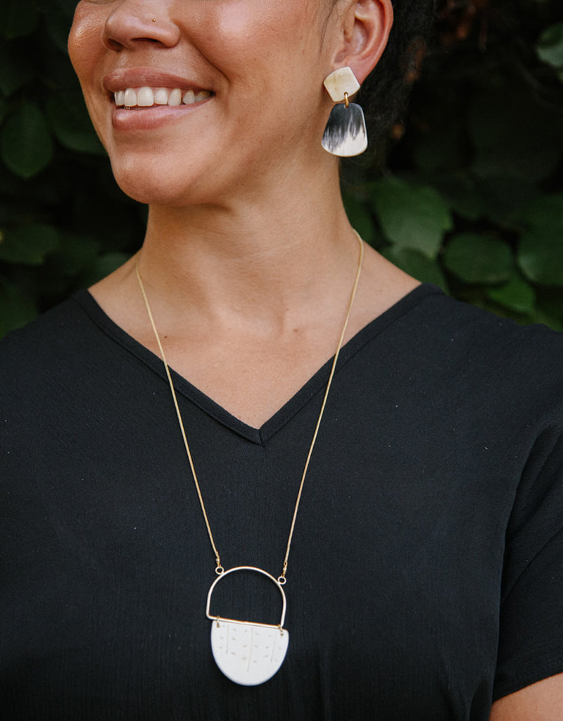 Paris Polished Horn Earrings