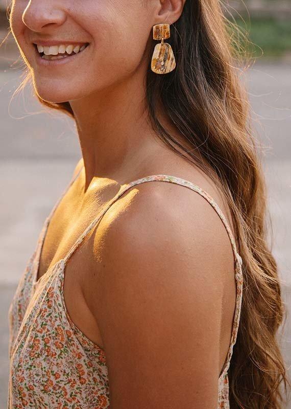 Paris Rough Horn Earrings