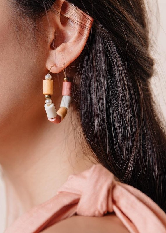 Emily Hoop Coral Earrings