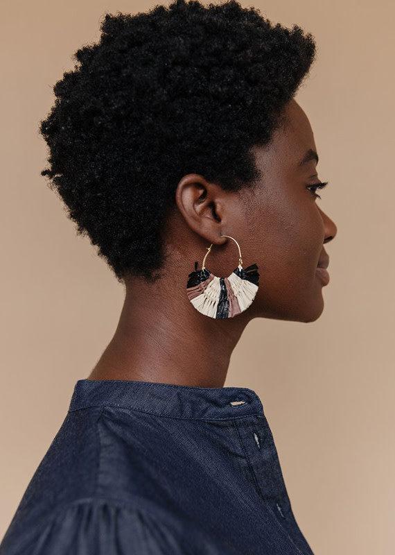 Mata Traders Raffia Hoop Earrings