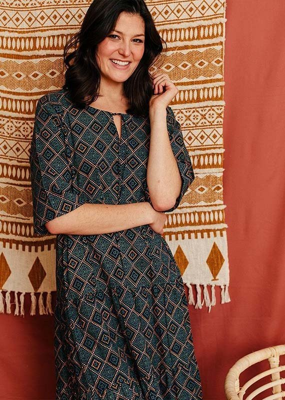 Thais Tiered Tapestry Dress