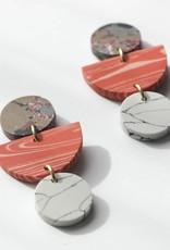 Rover & Kin Peach Geo Clay Earrings