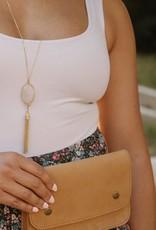 Fair Anita Barbara Rose Quartz Tassel Necklace