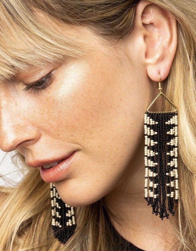 Ink & Alloy Black Arrow Fringe Earrings