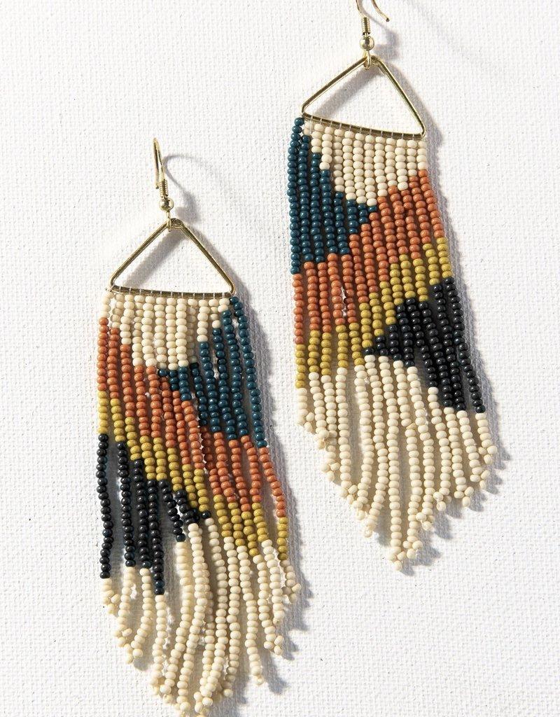 Ink & Alloy Peacock Triangle Fringe Earrings