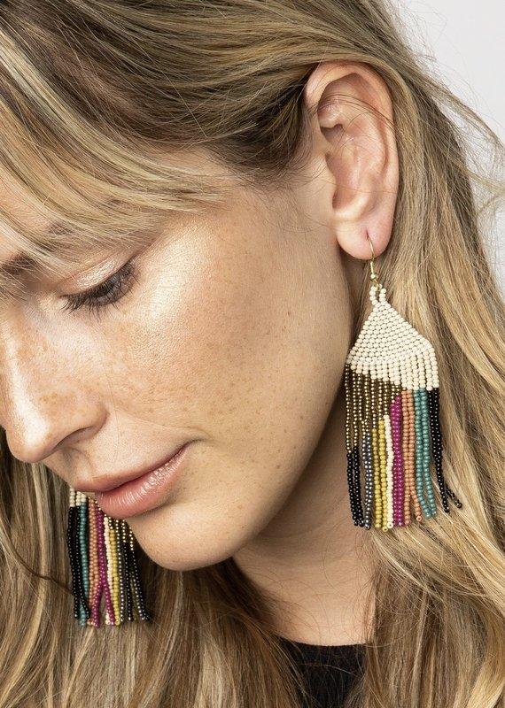 Ink & Alloy Ivory Muted Stripe Earrings