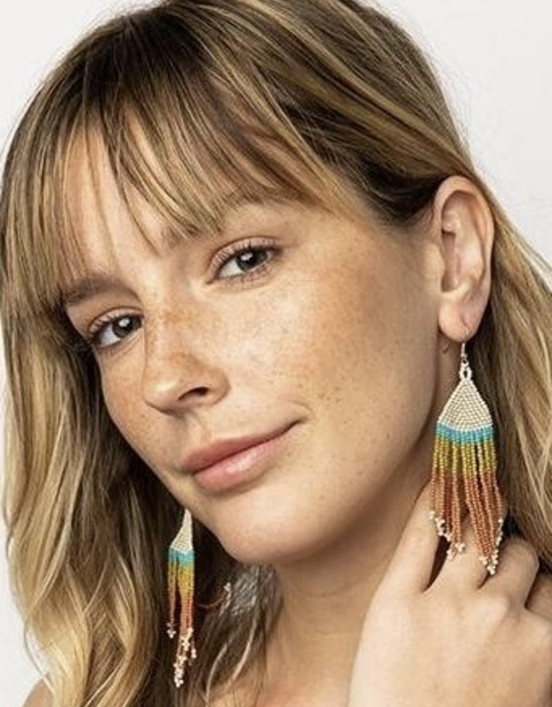 Ink & Alloy Rust Turquoise Fringe Earrings