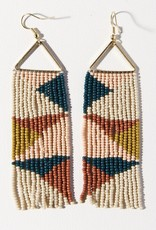 Ink & Alloy Peacock Rust Triangles Earrings