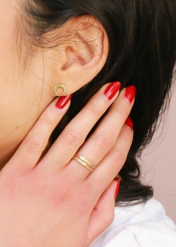 Fair Anita Orbit Brass Stud Earrings