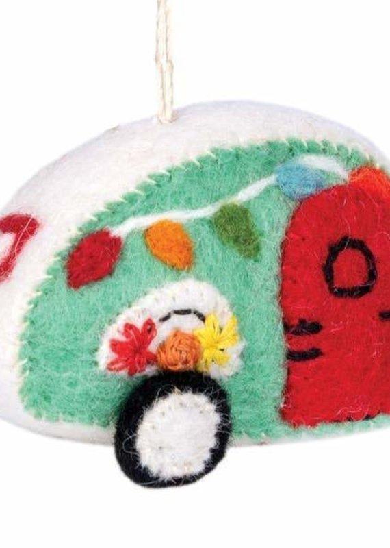 dZi Aqua Retro Camper Ornament