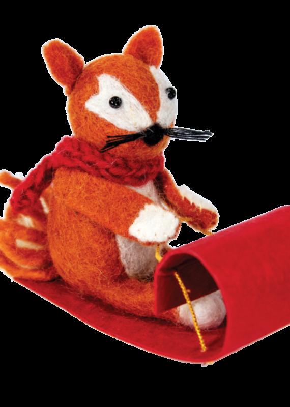 dZi Toboggan Fox Ornament