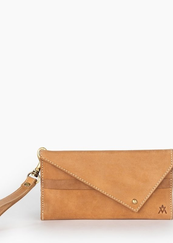 Elevate People Leather Tri-Fold Camel Wallet