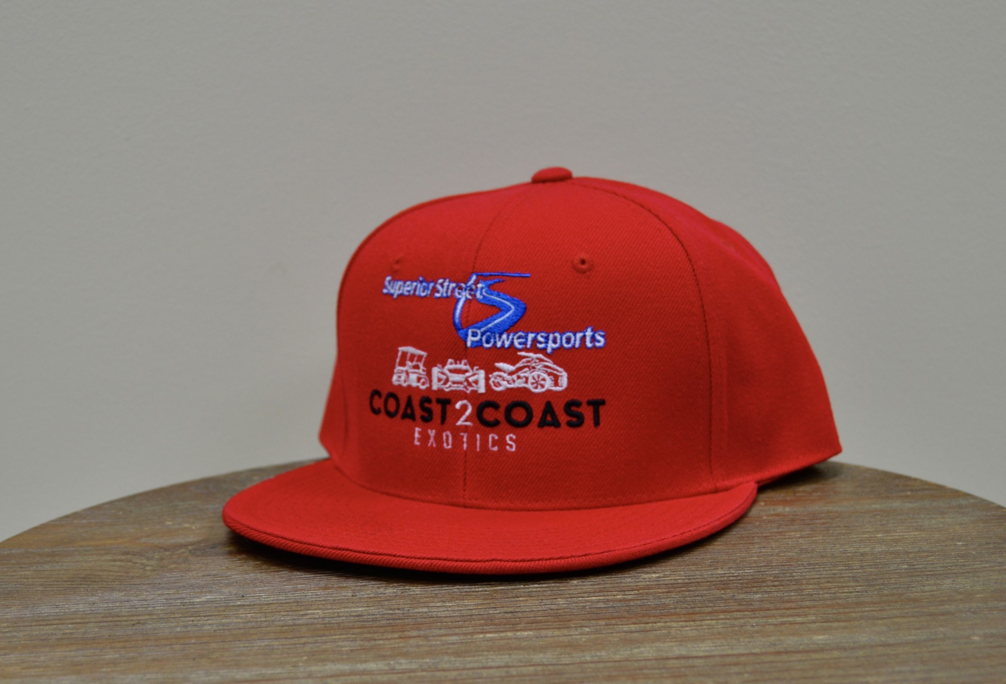 Superior Street Powersports/C2C   Flat Fitted Baseball Hat - Red