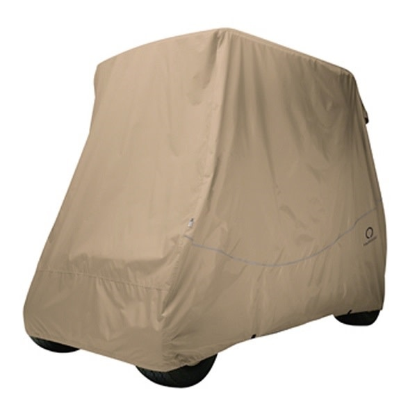 Golf Cart Cover Heavy Duty (2 Passenger with short top) Tan, Black