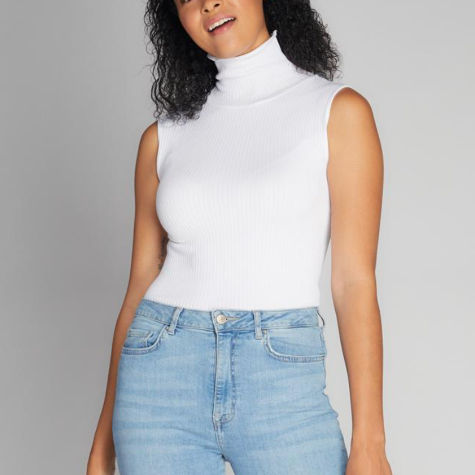 cest moi Seamless Rib S/Less TN Top- One Size