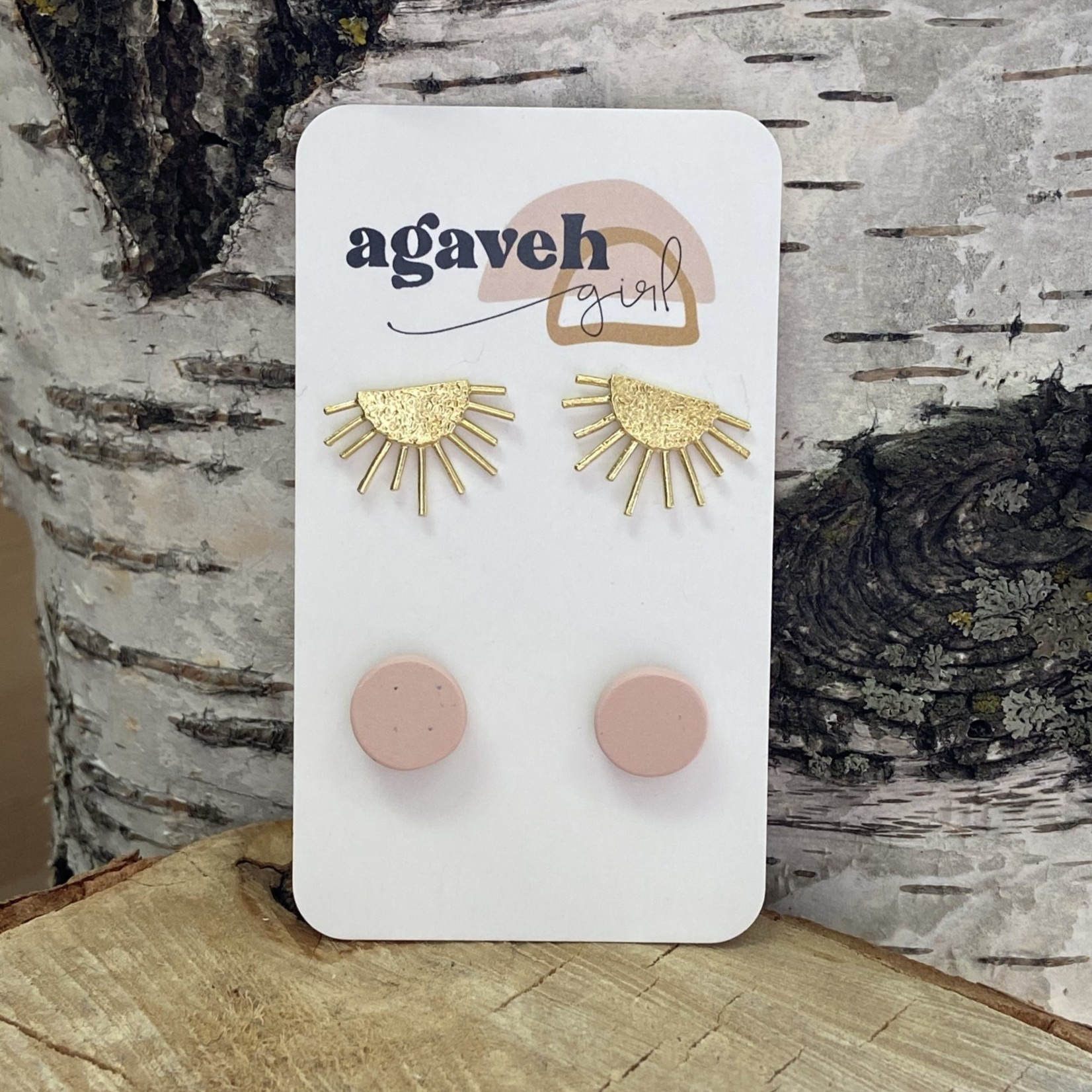 agaveh girl Blush & Sunrise Earring Duo