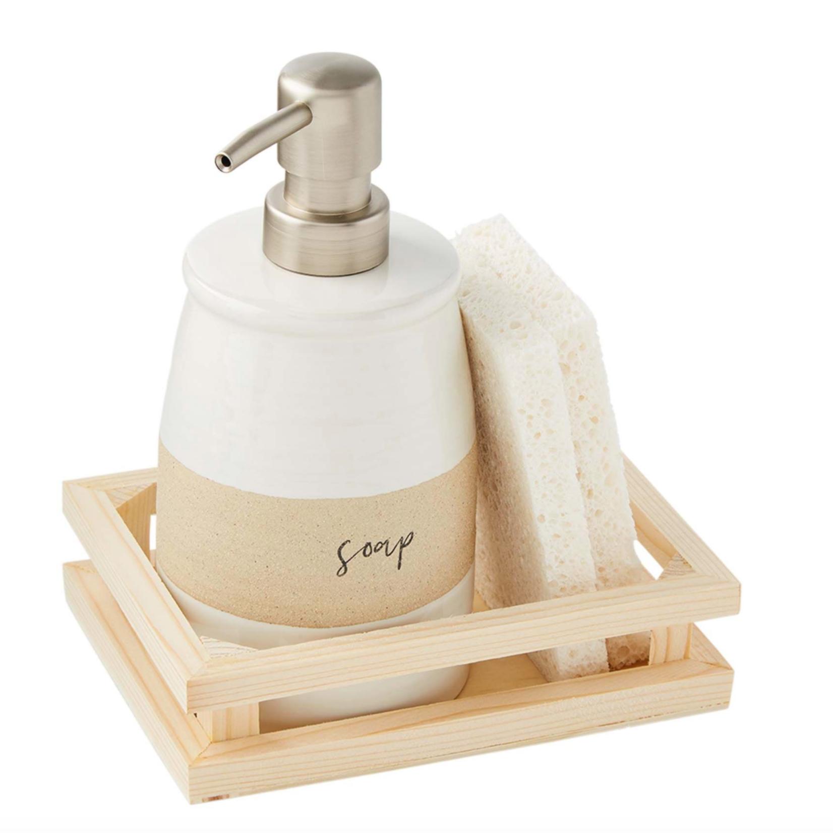 Stoneware Soap and Sponge Set