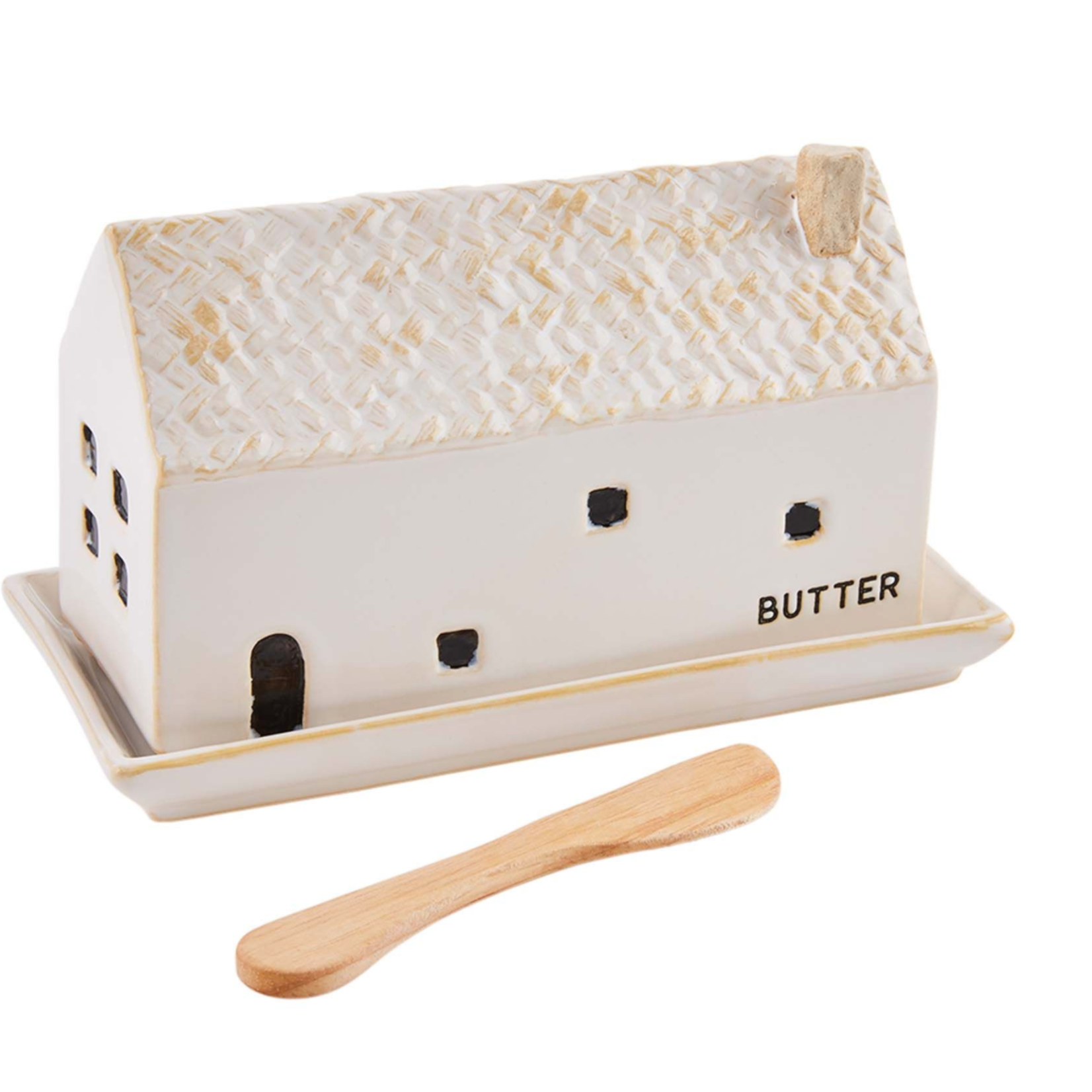 Stoneware House Butter Dish
