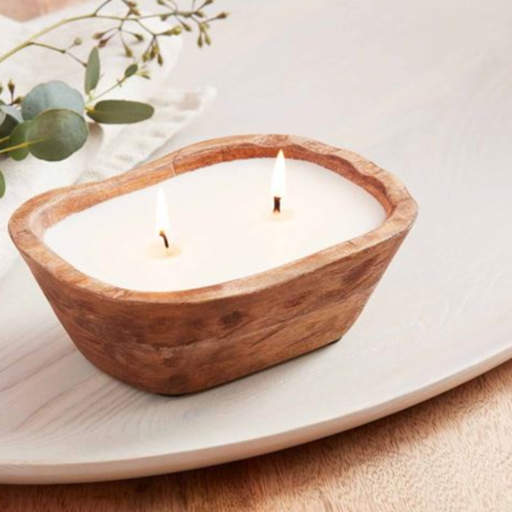 mud pie Small Petite Wood Bowl Candle
