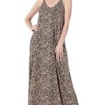 zenana Leopard Print Cami Maxi Dress