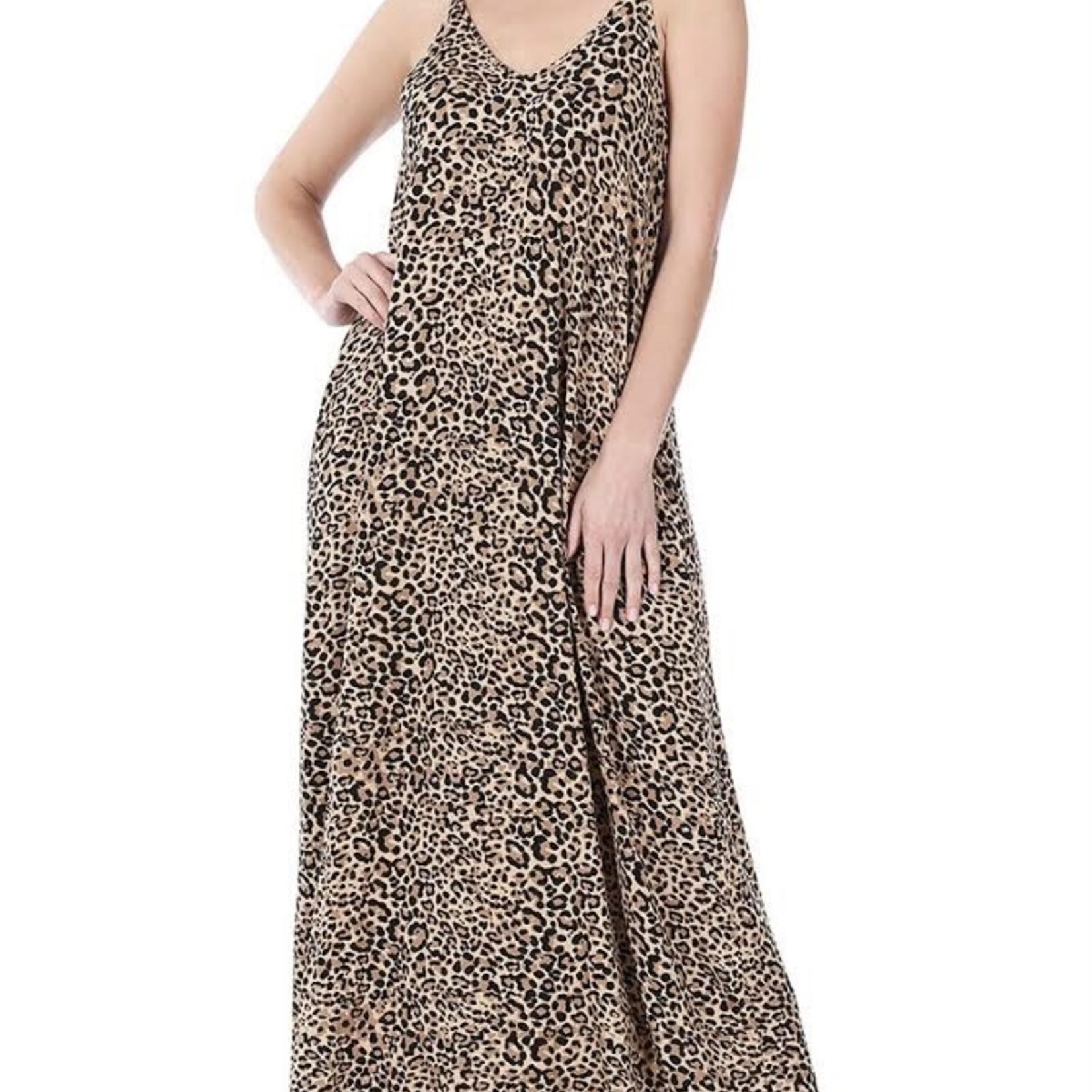 zenana Leopard Print Cami Maxi Dress 43101