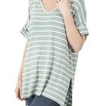zenana Stripe Rolled Short Sleeve V-neck