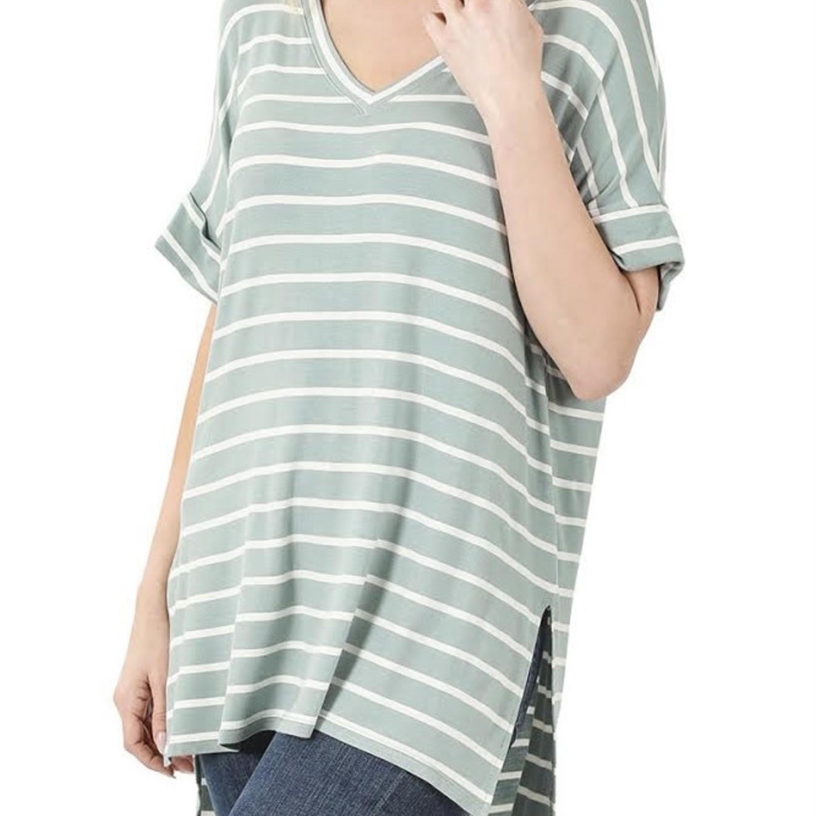 zenana Stripe Rolled Short Sleeve V-neck 2327