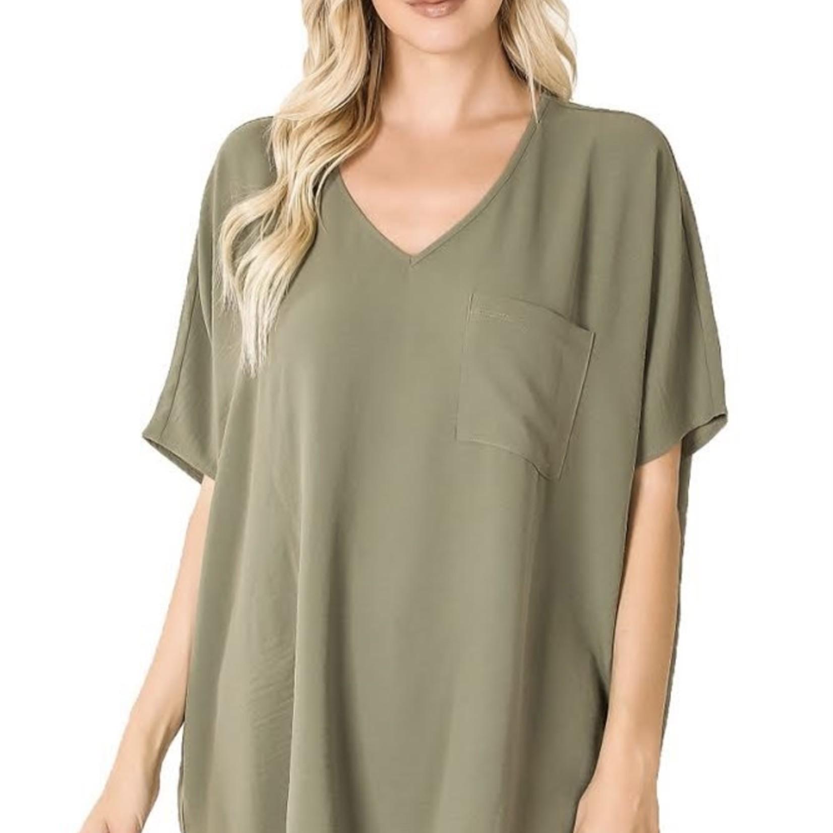 zenana Woven  V-neck Short Sleeve Shirt 2740