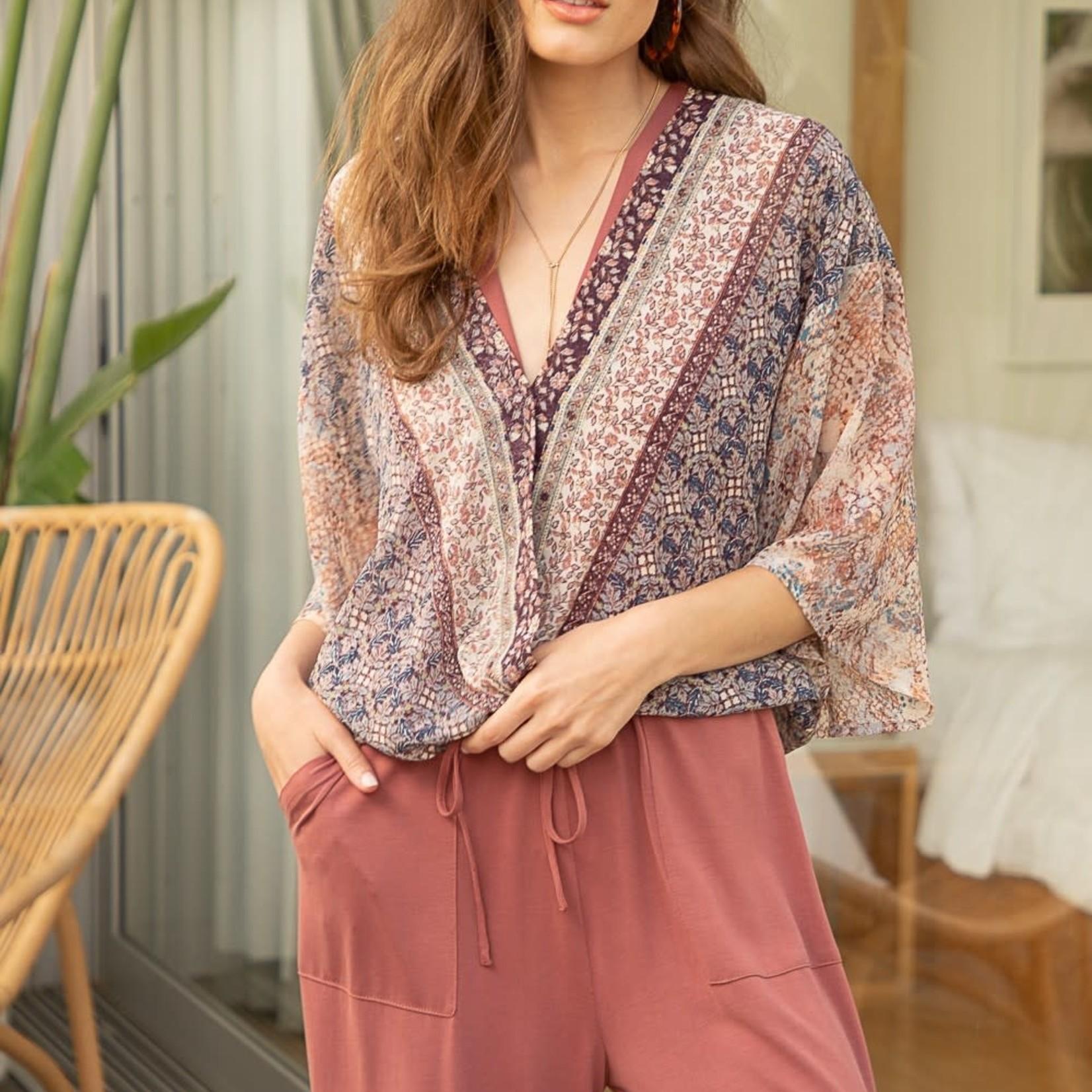 mystree Border print front wrap kimono blouse