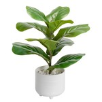 Torre & Tagus Riviera Ceramic Potted Faux Leaf Fig Plant
