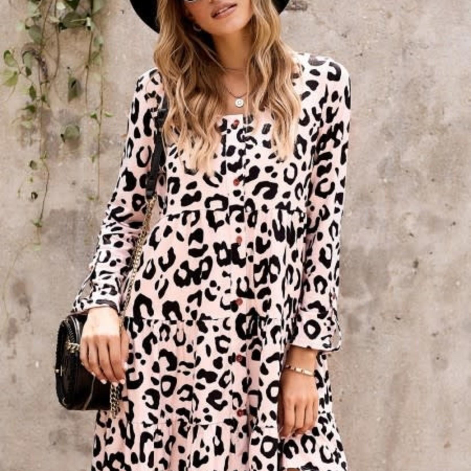 Miss Sparkling Leopard Tiered Babydoll Dress
