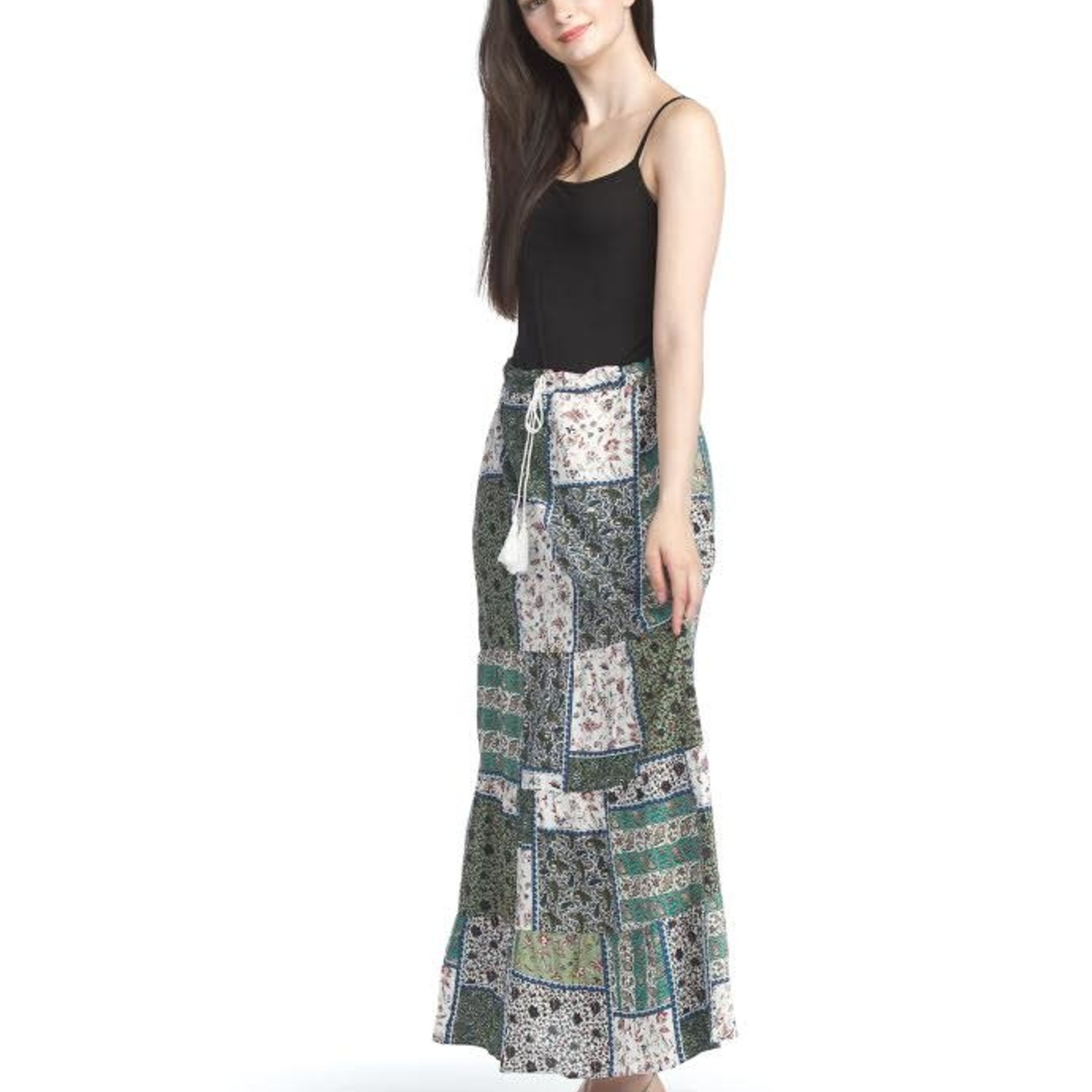 Papillon Patchwork Tiered Skirt With Elastic 07901