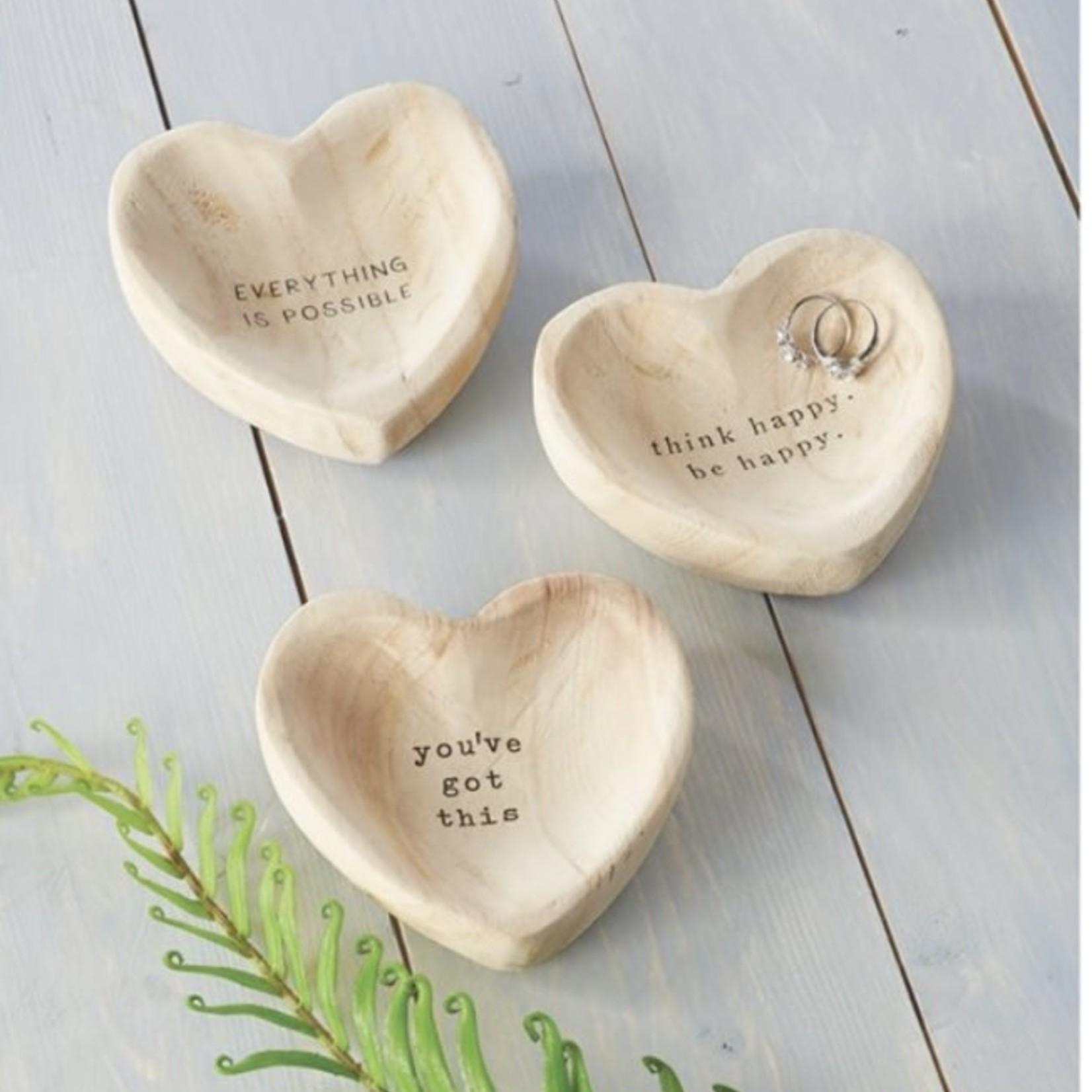 mud pie Wood Heart Trinket Tray