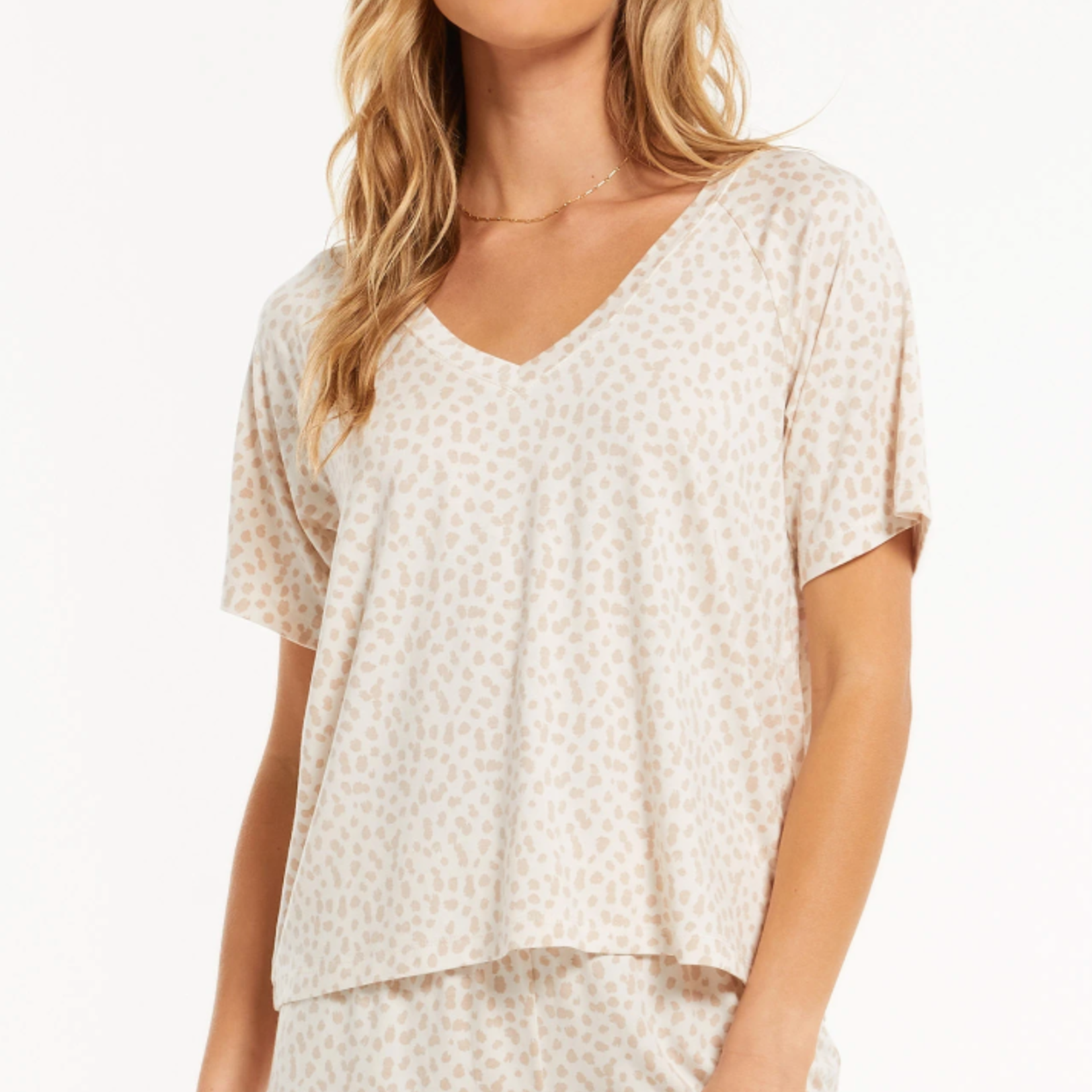 z supply Lay Low Leopard V-Neck Top